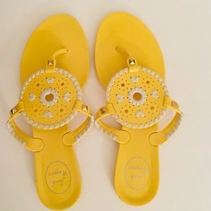 Yellow and White Jack Rogers Jelly Flip Flop